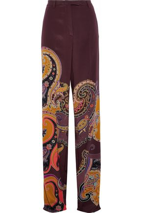 ETRO Printed silk-blend crepe de chine wide-leg pants