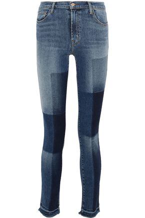 J BRAND Patchwork-effect mid-rise skinny jeans