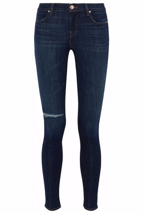J BRAND Distressed mid-rise skinny jeans
