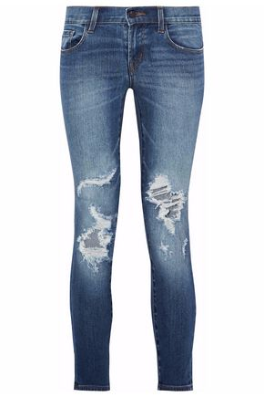 J BRAND Distressed low-rise skinny jeans