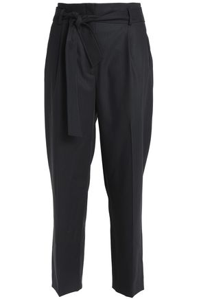 SANDRO Cropped belted wool straight-leg pants