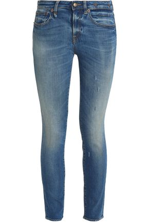 R13 Distressed faded mid-rise skinny jeans