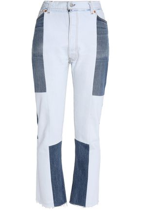 RE/DONE by LEVI'S Paneled distressed high-rise straight-leg jeans