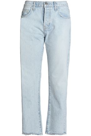 CURRENT/ELLIOTT Frayed mid-rise straight-leg jeans