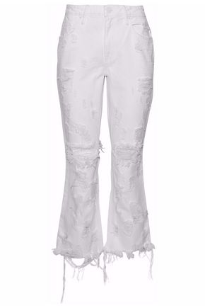 ALEXANDER WANG Cropped distressed high-rise flared jeans