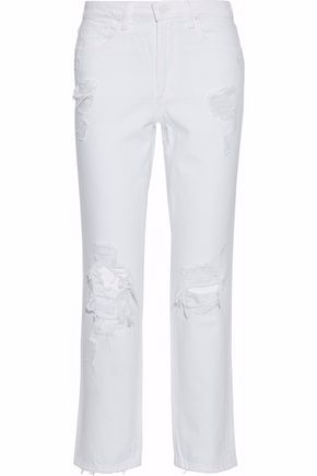 ALEXANDER WANG Distressed high-rise straight-leg jeans