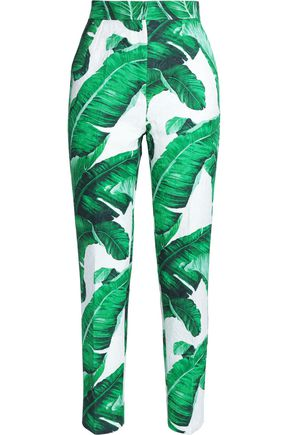 DOLCE & GABBANA Printed cotton and silk-blend tapered pants