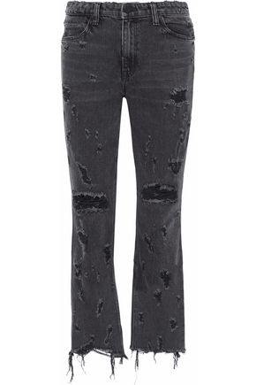 ALEXANDER WANG Distressed mid-rise bootcut jeans