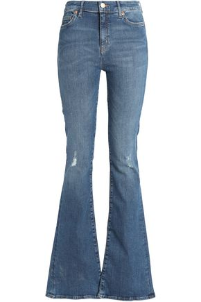 M.I.H JEANS Distressed high-rise flared jeans