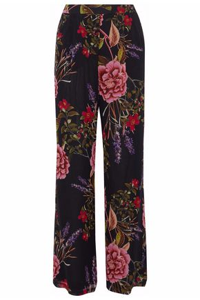NICHOLAS Floral-print silk-georgette straight-leg pants