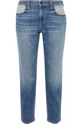 ALEXANDER WANG Ride cropped two-tone mid-rise straight-leg jeans
