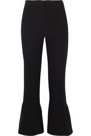 NICHOLAS Fluted crepe cropped flared pants