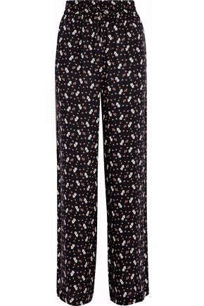 ALICE + OLIVIA Benny floral-print crepe de chine wide-leg pants