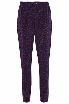 MARKUS LUPFER Printed silk-crepe track pants