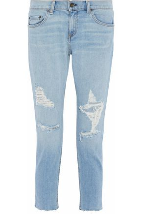 RAG & BONE/JEAN Distressed low-rise slim-leg jeans