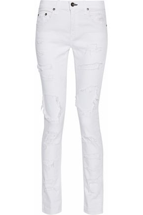 RAG & BONE/JEAN Distressed low-rise straight-leg jeans