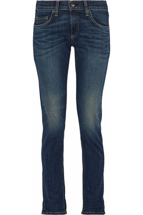 RAG & BONE/JEAN Faded mid-rise straight-leg jeans