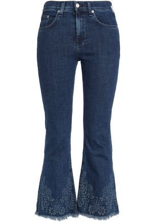 RAG & BONE/JEAN Frayed embroidered high-rise flared jeans