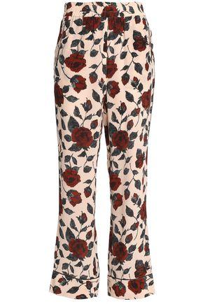 GANNI Printed silk bootcut pants