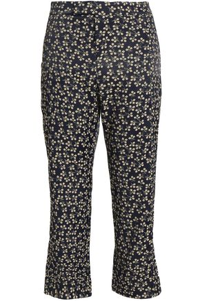GANNI Cropped floral-print bootcut pants