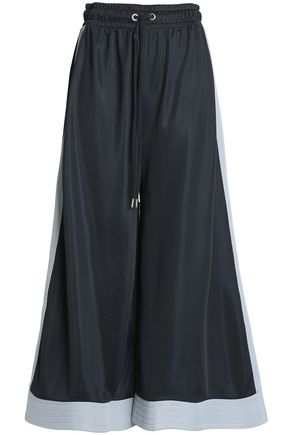 GANNI Two-tone knitted wide-leg pants