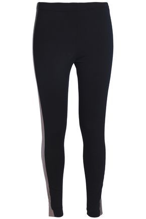 NORMA KAMALI Metallic-paneled stretch-jersey leggings
