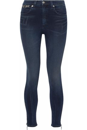 RAG & BONE/JEAN Zip-detailed high-rise skinny jeans