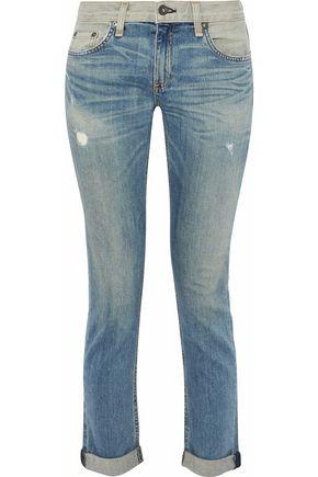 RAG & BONE/JEAN Two-tone distressed mid-rise slim-leg jeans