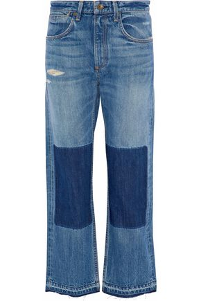 RAG & BONE Distressed patchwork boyfriend jeans
