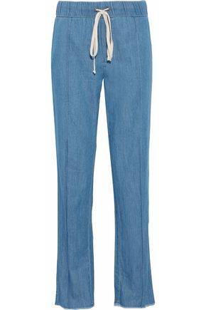 ENZA COSTA Cotton-chambray track pants