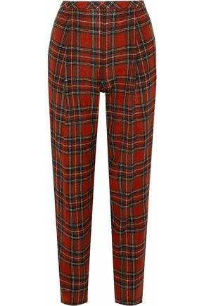 ROSETTA GETTY Cropped checked wool-tweed straight-leg pants