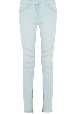 BALMAIN Mid-rise moto-style skinny jeans