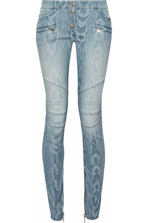 BALMAIN Faded moiré low-rise skinny jeans