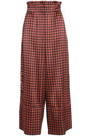 GANNI Jolly shirred printed silk-blend satin wide-leg pants