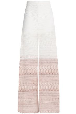 ALEXIS Dégradé macramé lace wide-leg pants