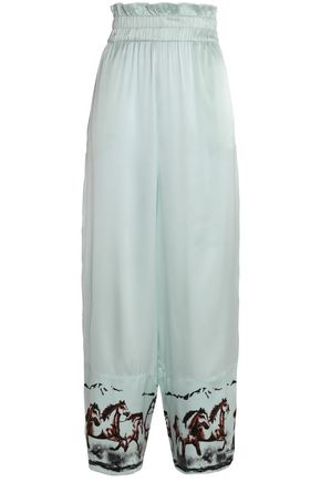 GANNI Jolly shirred printed silk-blend satin wide-leg pants