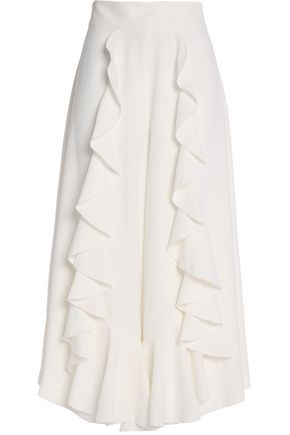 ALEXIS Ruffle-trimmed crepe culottes