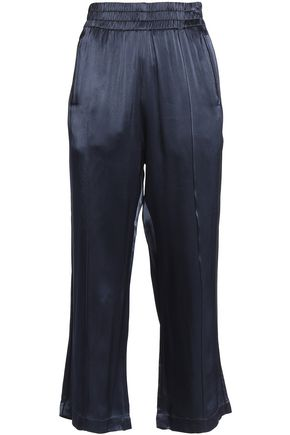 GANNI Donnelly cropped satin wide-leg pants