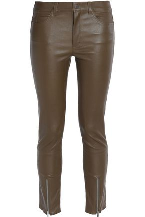 HELMUT LANG Leather slim-leg pants