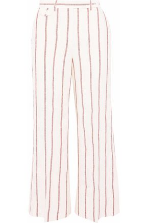 THEORY Striped linen wide-leg pants