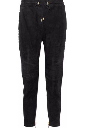 BALMAIN Suede track pants