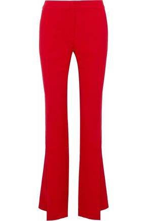 WOMAN SILK-BLEND CREPE FLARED PANTS RED