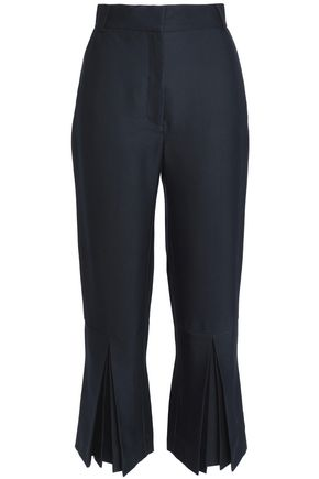 VILSHENKO Cropped pleated twill bootcut pants