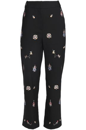 VILSHENKO Embroidered wool straight-leg pants