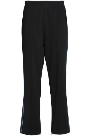 GANNI Metallic-trimmed stretch-ponte track pants