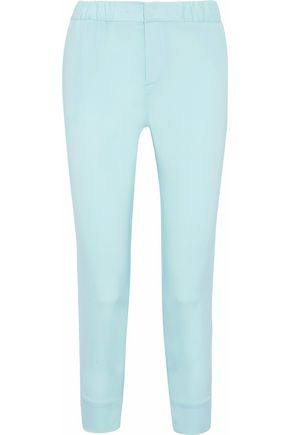 ROBERTO CAVALLI Cropped silk-blend slim-leg pants