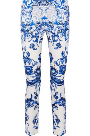 ROBERTO CAVALLI Printed cotton-blend tapered pants