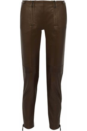 BELSTAFF Zip-embellished leather slim-leg pants