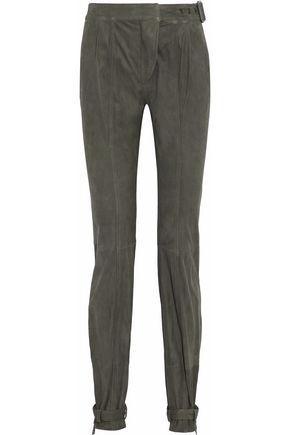 BELSTAFF Buckle-embellished suede pants
