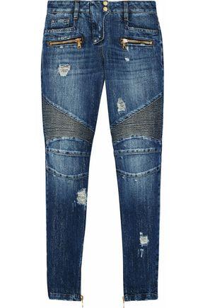 BALMAIN Metallic distressed high-rise skinny jeans